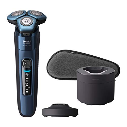 Philips Norelco Shaver 7700, Rechargeable Wet & Dry Electric Shaver with SenseIQ Technology, Quick Clean Pod, Charging Stand and Pop-up Trimmer, S7782/85