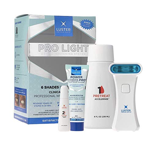 Luster Premium White | Pro Light Dental Whitening System Kit with Whitening Dual-Energy Xenon Light, Stain Lifting Serum, Accelerinse and Anticavity Fluoride Toothpaste, Mint ()