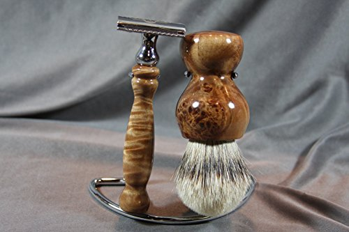 Maple Burl Shaving Set by Wood Razor