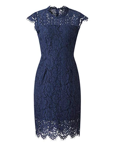 MEROKEETY Women's Sleeveless Lace Floral Elegant Cocktail Dress Crew Neck Knee Length for Party 5