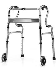 DORTALA Heavy-Duty Folding Walker, Aluminum Alloy Walker w/ Unidirectional Wheels & Bi-Level Armrests, Height Adjustable Walker w/ Fixed Mode & Interactive Mode, Portable Medical Walker for Outside & Inside, Gray