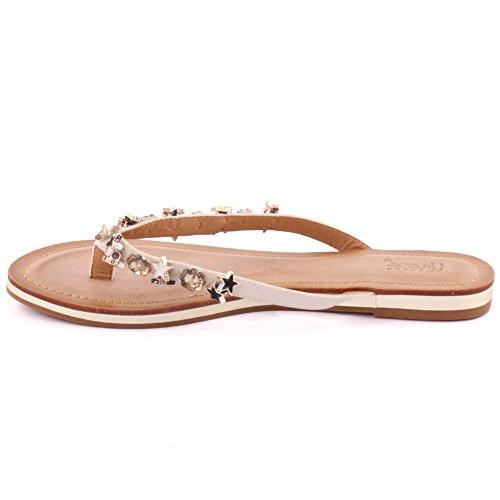 Unze Nuevas Mujeres 'Tyra' Thong Sandalias Embellecido Summer Beach Party Get Together Escuela Carnaval Casual Zapatillas Zapatos Tamaño UK 3-8 Blanco