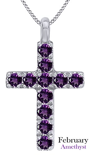 AFFY Mothers Day Jewelry Gifts Round Cut Simulated Amethyst Cross Pendant Necklace in 14k White Gold Over Sterling Silver