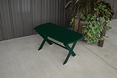 Yellow Pine Outdoor Folding Coffee Table Amish Made in the USA - Dark Green Paint