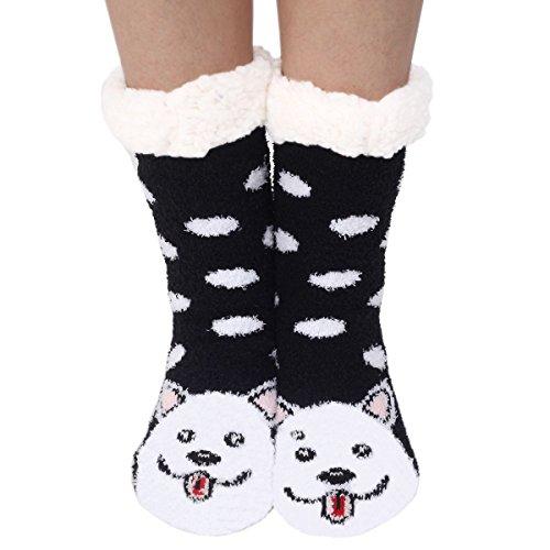 d0aa2dcaed69 Marlong Womens Warm Soft Cute Cartoon Animals fuzzy Cozy Non-Slip Winter  Indoor Slipper Socks