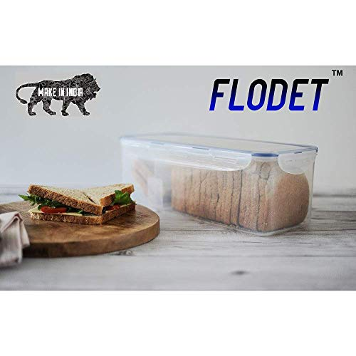 FLODET Bread Box Big Size Air Tight Container for Storage, BPA Free, 32 x 15 x 13 cm, 3800 ML-1 Piece, Transparent