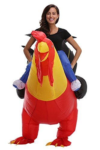 Man Riding Chicken Costumes (SAVEES Polyester Inflatable Fancy Riding Cosplay Costumes For Adults/Kids)