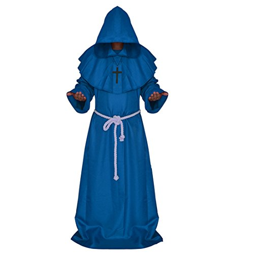 [Monk Robe, Ivysky Medieval Priest Robe with Hooded Cape Cloak Costume for Cosplay Unisex (XL, Blue)] (Missionary Costumes)