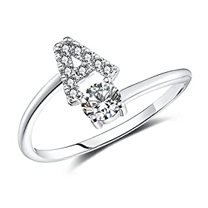 FAURORA Letter Rings for Women Girls, Adjustable Initial Ring A-Z Silver Rings Women Ring Engagement Rings for Women Girls