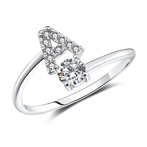 Faurora Rings for Women Initial Ring Letter Ring A-Z Adjustable Silver Rings Women Rings Size 6-11 Gift Set A