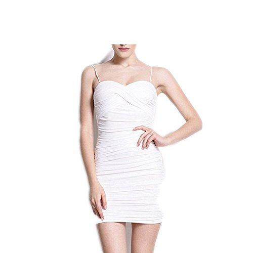 [FGHGYH New Sexy Bodycon Dress Women Spaghetti Strap Club Mini Dress Sundress White M] (Western Day Dress Up Ideas)