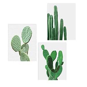 3pcs Cuadro Lienzo Cactus Decor Plantas Nórdicas Pared Arte Cactus Decoración sin marco