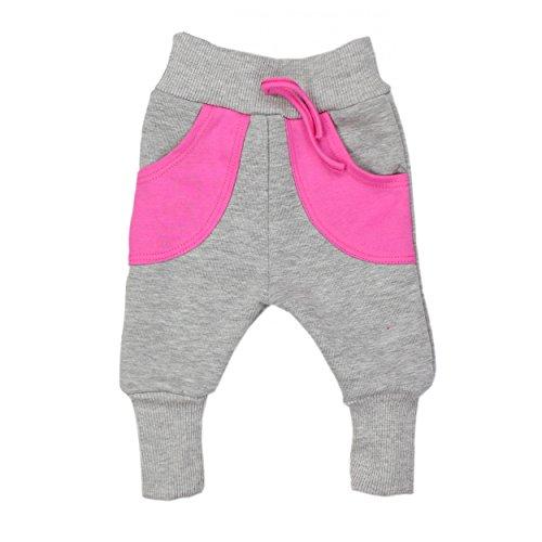 Baby-Hose Warme Pumphose Baggy Jogginghose Baumwolle Jungen Sweathose Mädchen Herbst Winter, Farbe: Grau / Pink, Größe: 98