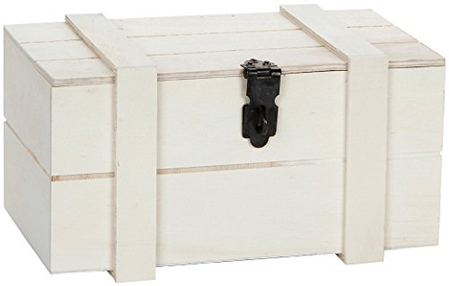 Treasures White Dresser - Darice Unfinished Wooden Box with Hinged Curved Top, 7.5