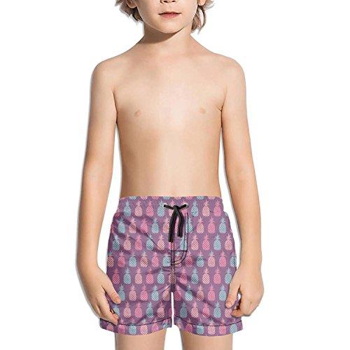 TylerLiu Pineapple neon Light Purple Background Kids Boy's Fast Drying Beach Swim Trunks ()