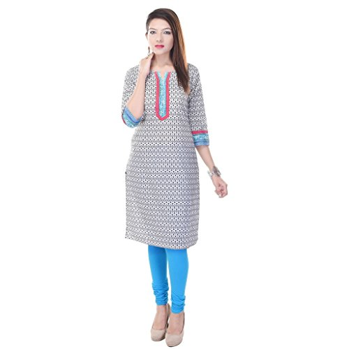 Vihaan Impex Indian Ethnic Baumwolle New Kurti Casual Wear Weiß