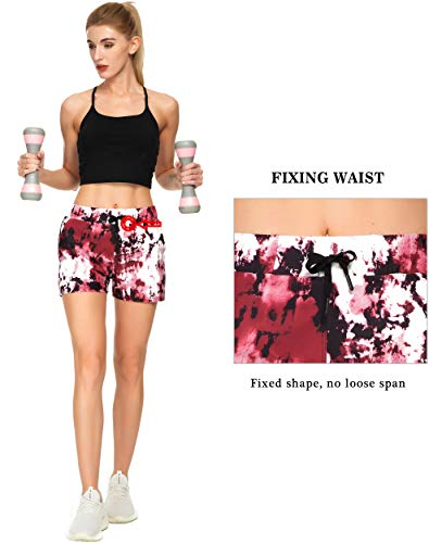 Kcutteyg Workout Shorts for Women with 3 Pockets, Running Yoga Athletic Gym Sports Hiking Shorts (Tie Dye Burgundy, S)