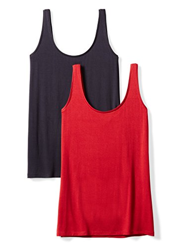 Daily Ritual Women's Jersey Tank Top, 2-Pack, XS, Navy/Deep Red