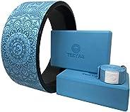 Yoga wheel(Yoga Circle/Yoga Ring) Block Strap Set - Strong Yoga Wheel 12.6 x 5.2 Inch & Yoga Blocks(High D