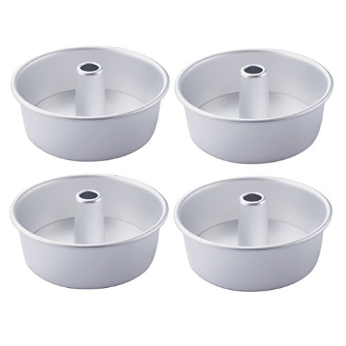 MagiDeal 4pcs Angel Food Cake Pans Removable Bottom NonStick Cake Mold Baking 8 Inch