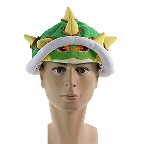 Bowser Costume Accessories (Super Mario Bros Koopa Bowser Jr. Soft Plush Hat Cosplay Costume Cap Green Adults Gifts Toy Unisex Perimeter about 65cm / 26 inch)