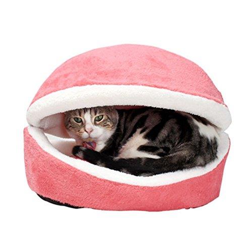 LvRao 2 in 1 Pet Casa Nido a Forma di Conchiglia Accogliente Caldo Cuscino Cuccia Morbido Letto per Cani Animale (Rose… 2 spesavip