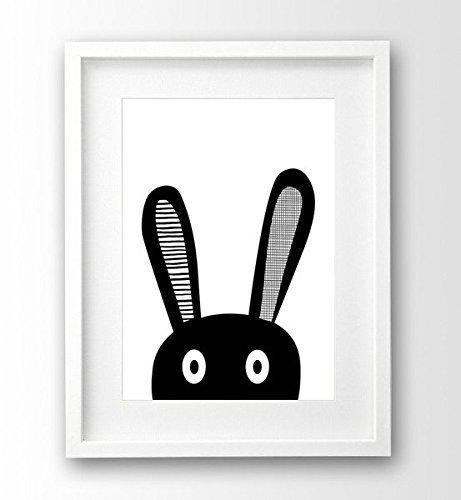 Kinderzimmer Poster ungerahmt A4, Hase Selfie, schwarz weiß