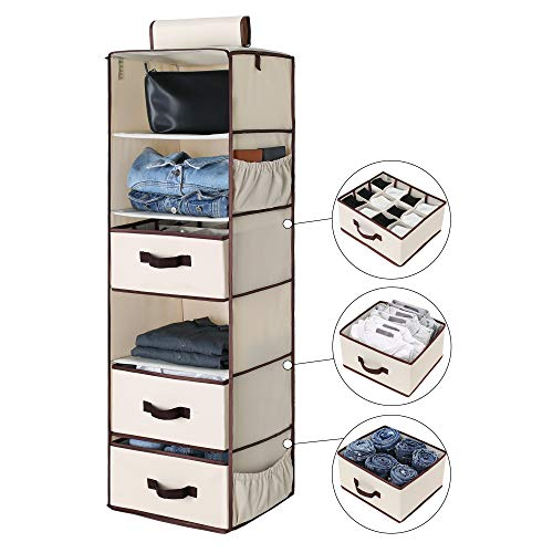 (StorageWorks 6-Shelf Hanging Closet Organizer, Foldable Closet Hanging Shelves with 2 Drawers & 1 Underwear/Socks Drawer, 42.5