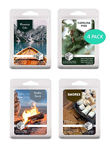 4 Pack - Campground Collection Soy Blend Scented Wax Melts Wax Cubes, 10.0 oz, [24 Cubes] with Bonfire Beach, Carolina Pine, Smores and Mountain Lake
