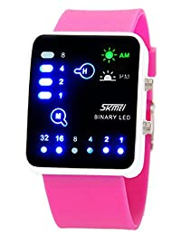 Nollimet Unisex LED Mini Digital Casual Touch Screen Sport Water Designer Style Watch Rose Red