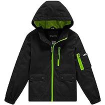 Wantdo Boys Lightweight Hooded Rain Jacket Packable Raincoat Windbreaker