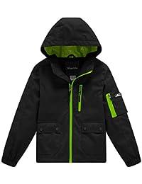 Wantdo Boy's Lightweight Hooded Rain Jacket Packable Raincoat Windbreaker