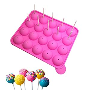 20 Silicone Tray Pop Cake Stick Mould Lollipop Party Cupcake Baking Mold (Pink)