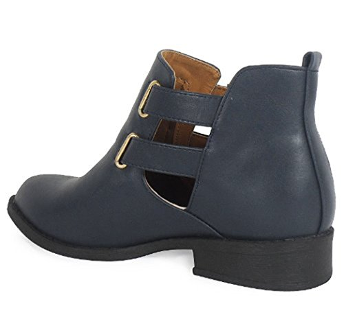 3 Pixie Ankle Navy Chelsea Womens Retro Vintage Size Winter Low Ladies Boots 8 Style Heel Flat qxqvwIOSU