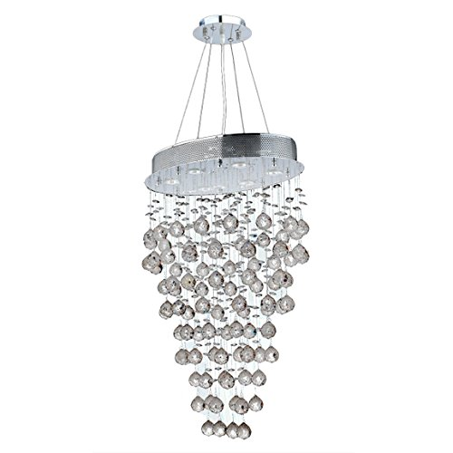 Worldwide Lighting Icicle Collection 6 Light Chrome Finish and Clear Crystal Oval Chandelier 20