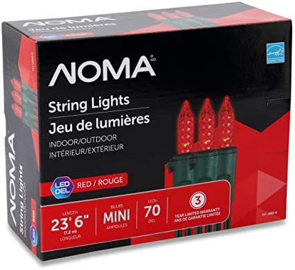 NOMA Premium Mini LED Christmas Lights Indoor Outdoor String Lights Red Bulbs 70 Light Set 23.6 Foot Strand