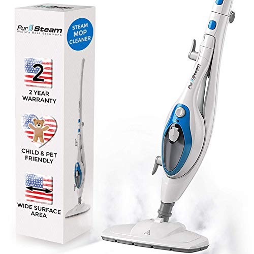 Steam Mop Cleaner ThermaPro 10-in-1 System - Laminate/Hardwood Floor Steam Cleaner, Pocket Mop System, Garment Clothes Steamer, Carpet/Tile and Whole House Multipurpose Use with 20FT Cord by PurSteam