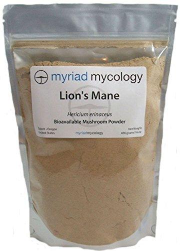 Myriad Mycology Lion's Mane Mushroom Powder 16oz or 1lb, Made in USA / Hou Tou Gu, 456g