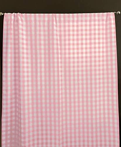 Zen Creative Designs Gingham Checkered Plaid Poplin Curtain Panel Home Window Decor 58 Inch Wide Pink, 120 Tall