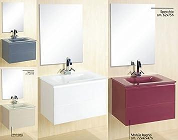 Colori Per Mobili Da Bagno : Mobile arredo bagno 72cm sospeso con lavabo in cristallo colori