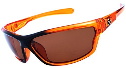 Nitrogen Men's Rectangular Sports Wrap 65mm Orange Polarized Sunglasses -