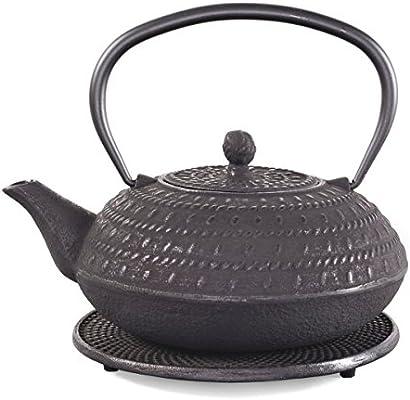 tea4chill Gusseisen Teekanne Tama 1,2l Karminrot mit Edelstahlsieb und Untersetzer