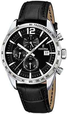 フェスティナ Festina Men's Quartz Watch with Black Dial Chronograph Display and Black Leather Strap F16760/4 [並行輸入品]