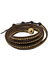Chan Luu Gold Tone Wrap On Natural Brown Leather Bracelet