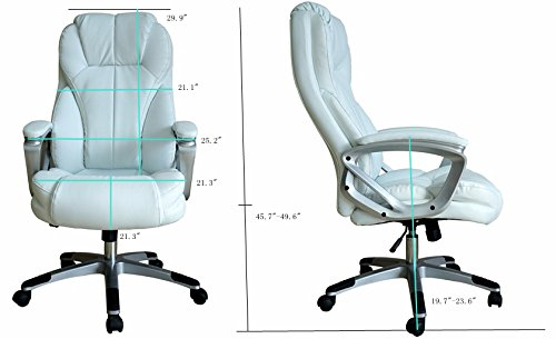 Executive Manger PU Leather Office Chair WHITE High Back Desk Conference Room by Tamsun (Image #4)