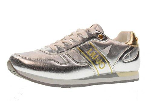 LIU JO GIRL Shoes Woman Low Sneakers L3A4-00426-0040904 Size 36 Silver 1e4b3cb65cc