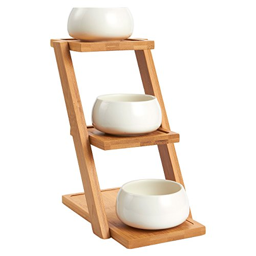 Bamboo Plant Stand - 3-Tier Plant Stand with 3 White Ceramic Pots, Narrow Shelf Unit, Shelf Organizer for Indoor, Outdoor Plant Display - 8.25 x 8.25 x 4.75 Inches