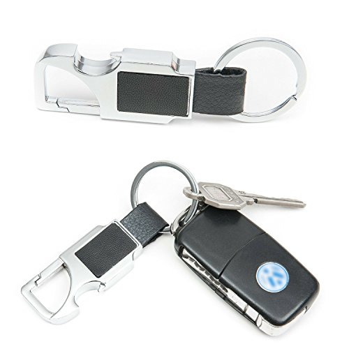 Black Leather Car Keychain Key Ring for Men With Bottle Opener