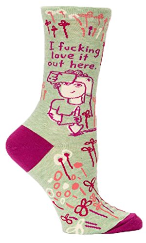 Blue Q Socks, Women's Crew, I F--king Love It Out Here.,Women's Shoe Size 5-10