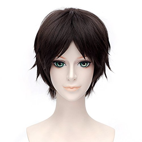 Probeauty Attack On Titan Eren Jaeger Dark Brown Short Synthetic Straight Cosplay Wig